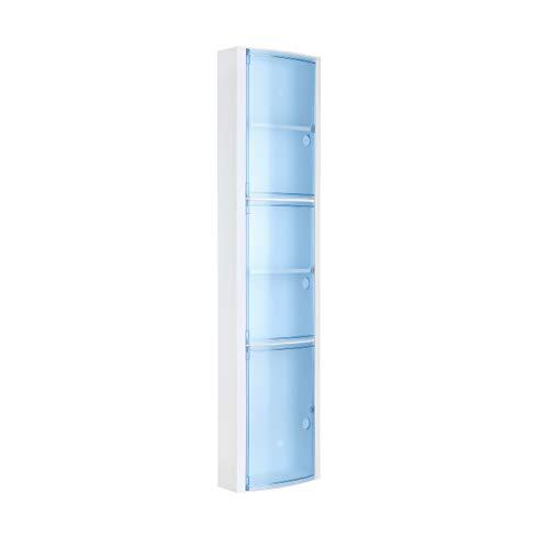 Tatay Armario plástico Vertical, Color Blanco y 3 Puertas sin pomos en Color Azul translúcido, y 2 estantes Interiores Removibles. Medidas 22x10x90,5 cm.
