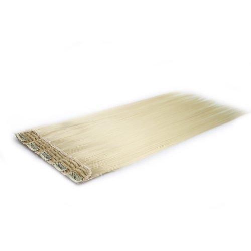 BiYa Hair Elements Thermatt haarverlenging met haarklem voor onmiddellijke bevestiging, glad, kleur PALE Blonde nr. 613 18/80 g