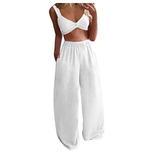 Yowablo Tops Pants Set Damen Lässig Solide ärmellose Camis Tops + Lange Hosen 2-teiliges Set ( XL,6weiß )