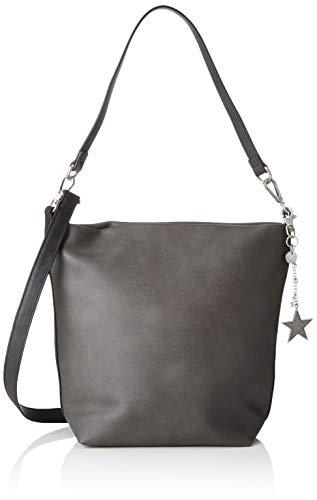 s.Oliver (Bags Damen Hobo Bag Henkeltasche, Grau (Grey/Black), 12x21x29 cm