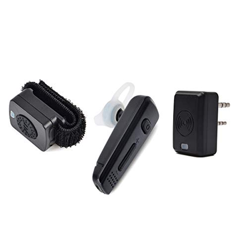 HYS Bluetooth Headset with PTT Rechargeable Wireless Finger PTT and Ear Piece with Mic for Baofeng Kenwood 2Pin Connector Suitable for Cycling and Outdoor Sports