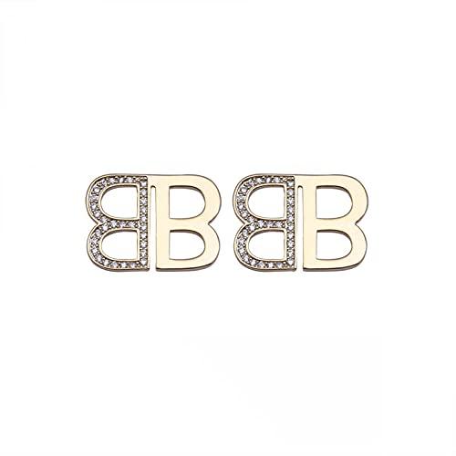 Aguja de plata S925 [Oro real chapado en cobre] Pendientes de personalidad de letra de viento frío Pendientes de nicho Pendientes de lujo ligeros de moda Pendientes