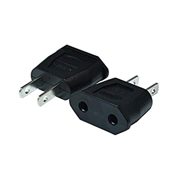 Socket Plug Adapter Europe EU Euro TO US Travel Charger AC Power Converter 2PCS Black