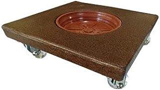 Rodizio suporte para vasos com roda de silicone quadrado 30 ferrugem