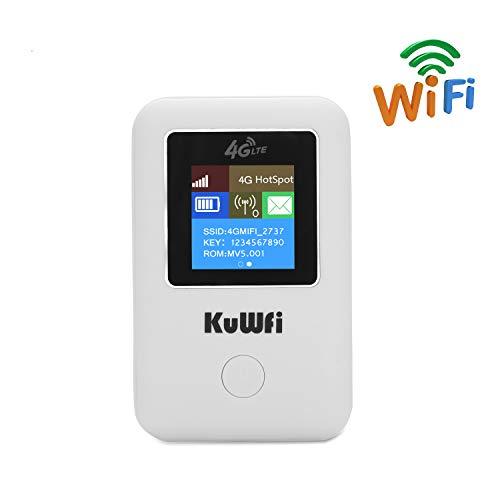 KuWFi Mobiele Router 4G Ontgrendeld, 150 Mbps 4G auto wifi-router Ondersteuning LTE FDD B1 / B3 / B5 Ondersteuning EE en Vodafone 4G draadloze router