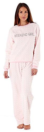 Kuscheliger, warmer Damen-Schlafanzug, aus Fleece, Hose und Oberteil, Pyjama für Damen Gr. 42/44, Pink - Weekend Girl