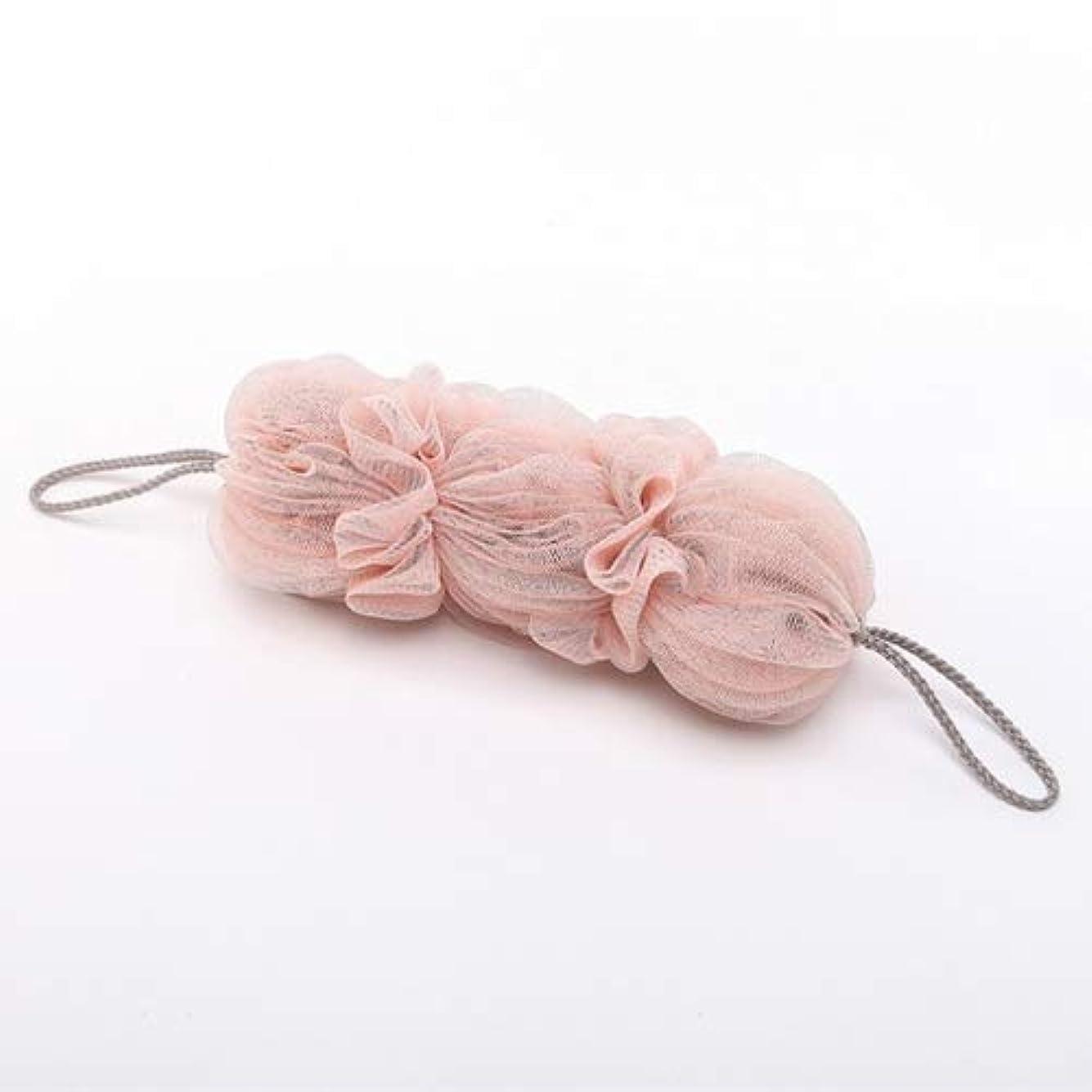 パッチバルブによってバスルーム用品 両面バスボール風呂浴槽バスタオルスクラバーボディ剥離シャワーボール (色 : Light pink)