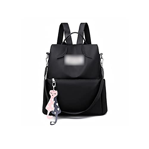 MTnoble Oxford Mochila para mujeres, Capacidad de la escuela secundaria Anti-Robo Cremallera Viajes Grandes Daypack, Mochila Preciosa Colgante Mochila Múltiples botas (Color : Black)