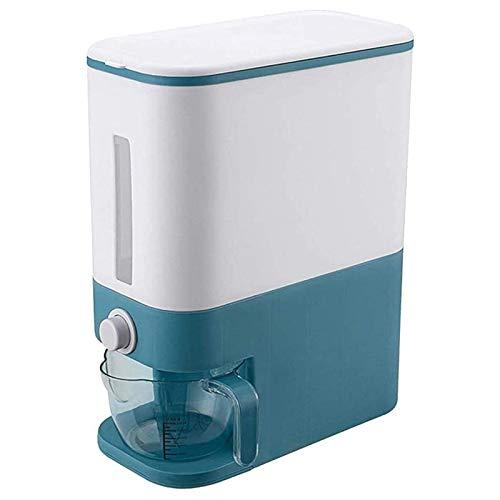 YEXINTMF Caja de dispensador de Cereal de plástico automático, contenedores de Alimentos Copa de medición Cocina Tanque de alimentación CRO Rice Container Organizador CANS (Color : Blue)