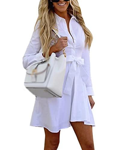 UN-BRAND Vestido corto de la blusa de la moda de las mujeres blanco vestidos de manga larga elegante una línea mini vestido vestido camisa vestidos con cinturón y botón, blanco, M