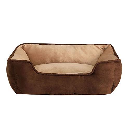 Dibea Cama Perros 2 en 1 cojín Perros sofá Perros (M) 80 x 60 cm marrón/Beige