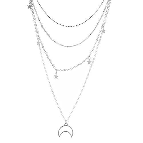 SPS Collar de Cadena en Capas Bohemio, Gargantilla de Color Plateado, Colgante, Pentagrama, Collar de Luna, Regalo de ángel, joyería Boho sin Cuello para Mujer