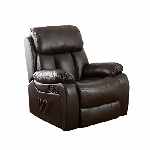 Luxury Life Chester Heated Leather Armchair Massage Recliner Chair. Sofa for Lounge, Gaming and Home (Brown)