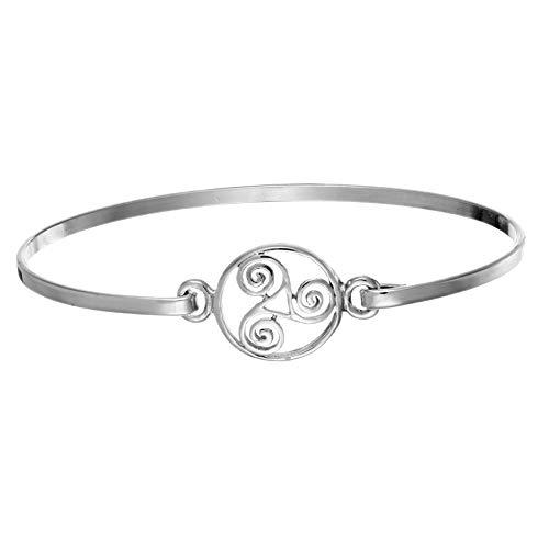 Silverly Women's .925 Sterling Silver Round Celtic Triple Spiral Triskele Triskelion Bangle Bracelet