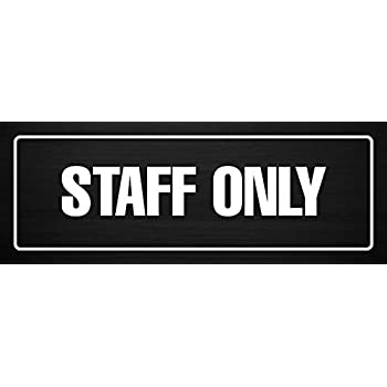 Single iCandy Products Inc Staff Only Business Office Door Building Sign 3x9 Inches Elm Burl Metal