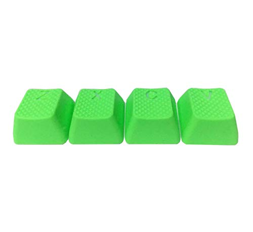 Rubber Gaming Backlit Keycaps Set - 4 Keys for Z, X, C, V, Cherry MX Mechanical Keyboards Compatible OEM (Neon Green)