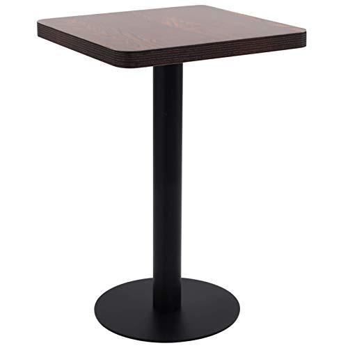 Tidyard Tavolo da Bistrot Scuromarronee Nero 50x50 cm in MDF,Perfetto Come Tavolo da Campeggio, da Buffet, da Cucina