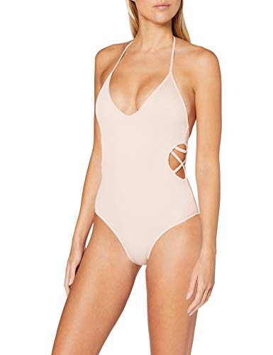 Urban Classics Badeanzug Ladies Rib Swimsuit Traje de Bao de una Sola Pieza, Rosa, L para Mujer