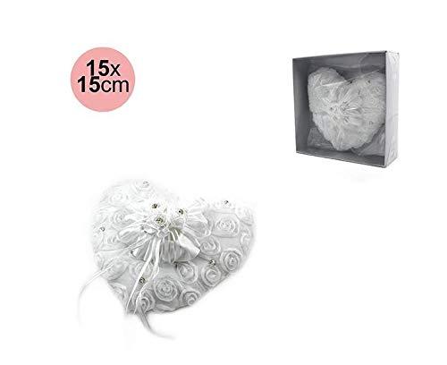 takestop® Cuscino Porta FEDI Nuziali Bianco Cuore 15x15cm Rose PORTAFEDI con Strass per Anelli Decorazione per Festa Cerimonia Matrimonio Wedding