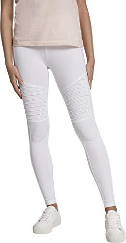 Urban Classics Ladies Tech Biker Leggings, Blanco (White 00220), 36 (Talla del Fabricante: X-Small) para Mujer