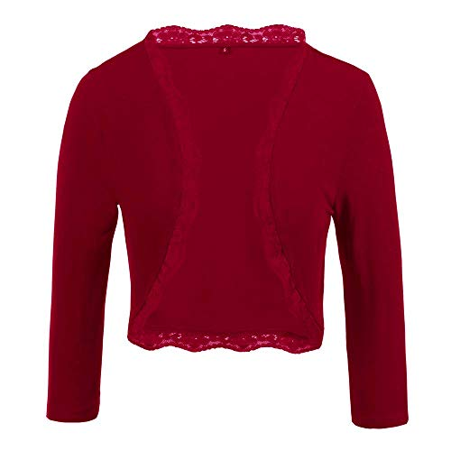 TrendiMax Damen Eleganter Bolero Jacke Festlich Kurze Strickjacke Spitze Jäckchen (Rot, XL)