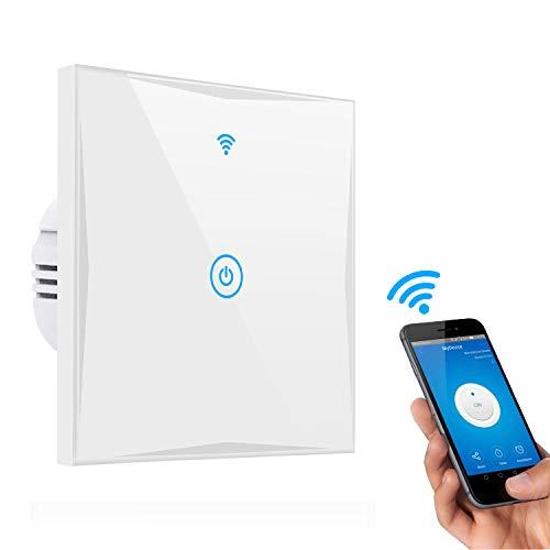 Smart Lichtschalter, CHANPAK 1-Weg Wifi In-Wall gehärtetes Glas Touchscreen-Schalter, arbeitet mit Amazon Alexa und Google Home, steuern Sie Ihre Fixtures von überall, kein Hub erforderlich(1-weg)