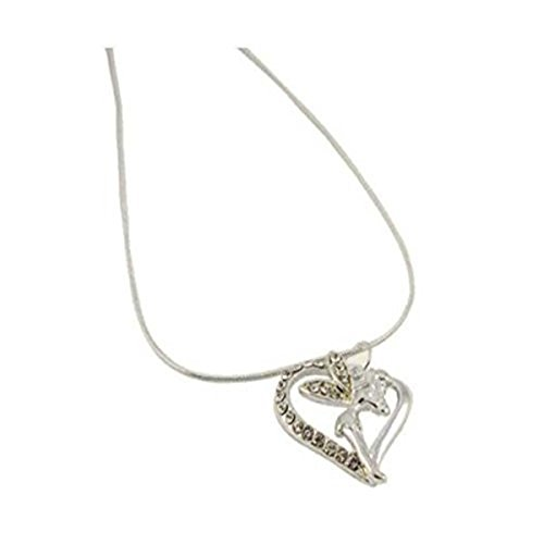 Silver Effect Open Heart and Fairy Pendant Necklace by PJ Designs