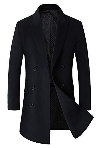 Men's Classic Wool Coats Double Breasted Trench Coat Windb...
