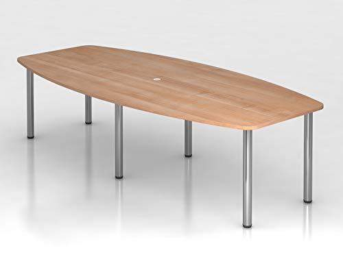 Konferenztisch 280cm 6 Chromfüße Nussbaum Bürotisch Besprechungstisch