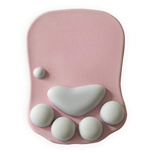 ZYJC 3D Cute Cat Paw Mouse Pad Nonslip PC Wrist Rests Wrist Cushion Comfort Silicon Gaming Mousepad Wrist Support(Pink)