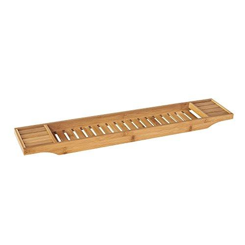 SoBuy FRG212-N,ES Bandeja de Bambú para Bañera,Estante de Baño,L80cm,con Soporte para Libro, iPad y Móvil