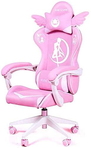 KMatratze Silla de Juego ergonómica, sillas de Jugador Silla de Oficina de PU, sillas de computadora reclinables, con reposacabezas y cojín Lumbar (Color : Pink)