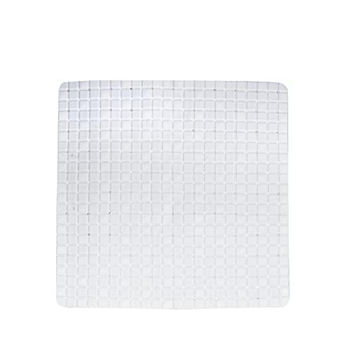 Virsus Tappeto doccia antiscivolo di colore bianco, antimuffa e antibatterico, con ventose e fori drenaggio, quadrato dimensione 55 x 55 cm, tappetino bagno doccia vasca da bagno lavabile