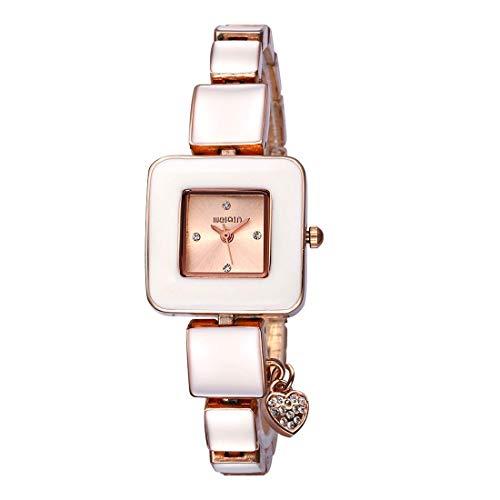 DBCSD Uhrglas Uhr Fenster Platz Einfache Strass Zifferblatt Mode Frauen Uhr mit Herzform Anhänger Legierung Band (Schwarz Silber + Schwarz)