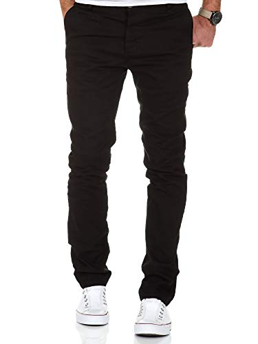 Amaci&Sons Herren Slim Fit Stretch Chino Hose Jeans 7100 Schwarz W30/L30