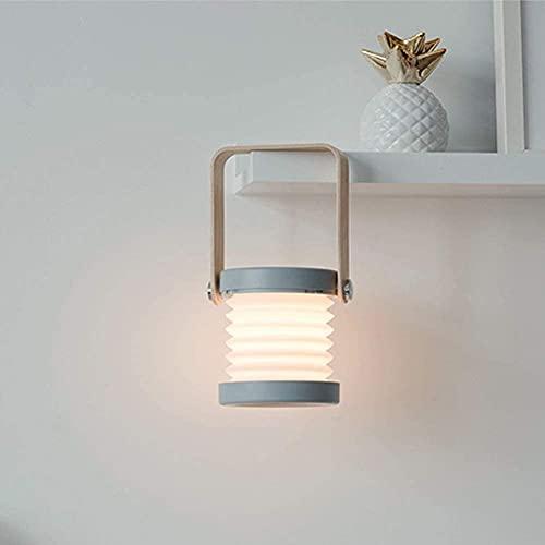 PUZOU Lámpara de linterna retráctil con luz LED, lámpara de carga USB, lámpara de mesa plegable, protección de ojos para niños, luz LED con mango de madera para lectura/mesa/trabajo (gris cian)
