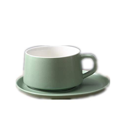 Taza Taza Hotel Macaron Taza de Porcelana Taza de café de Regalo Taza de Agua Taza de cerámica Color sólido Juego de Taza y platillo de café Verde, 6 * 9 * 15.5cm