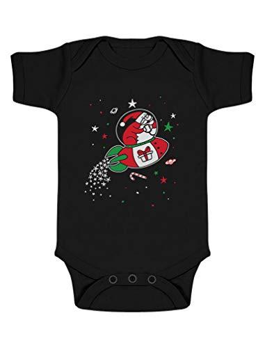 Green Turtle T-Shirts Père Noël et sa Navette spaciale Cadeau Naissance Noel Body Bébé Manche Courte 9-12 Mois Noir