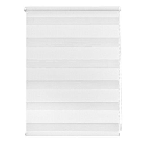 Lichtblick Doppelrollo Klemmfix, 90 cm x 220 cm (B x L) in Weiß, ohne Bohren, Duo Rollo für Fenster & Türen, moderner Sichtschutz, Innovative Kombination aus Rollo & Jalousie