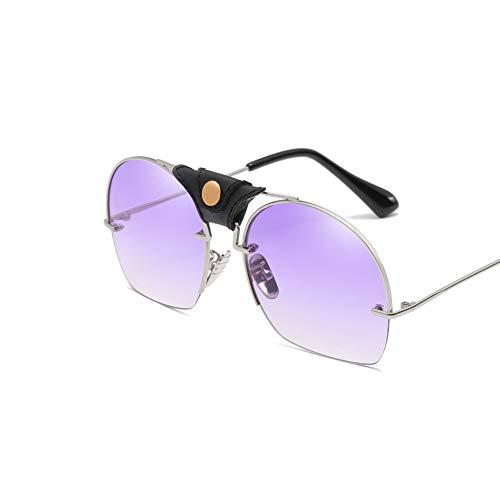 DSFHKUYB Gafas de Sol Polarizadas para Mujer, Montura Metálica, Cortinas Clásicas para Conducir Ciclismo Pesca,Púrpura
