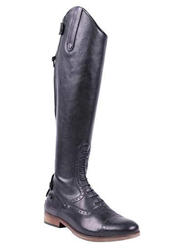 QHP Damen Luxus Leder-Reitstiefel Sophia Weite Wadenweite Größe (39 Schwarz)