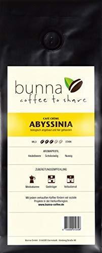BUNNA COFFEE - PREMIUM KAFFEE - ABYSSINIA Café Crème, 100% HANDVERLESENE FAIRTRADE ARABICA BOHNEN AUS ÄTHIOPIEN, FRISCH GERÖSTET, STÄRKE 3, GANZE BOHNEN - 500 g.