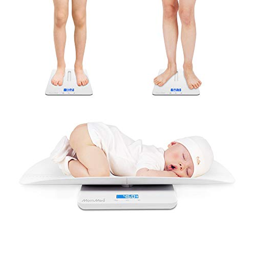 MomMed Baby Scale, Multi-Function Toddler Scale, Baby Scale Digital, Pet Scale, Infant Scale with Hold Function, Blue Backlight, Weight(Max: 220 Pound) and Height Track (Max: 24inch) (BS-502)