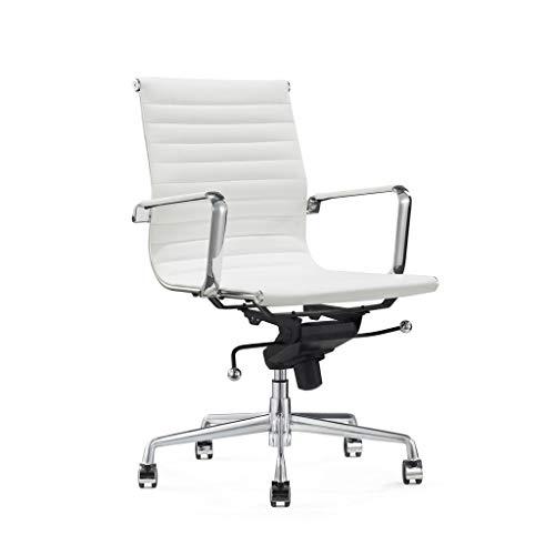Vivol Silla de escritorio de diseño - Valencia - Silla de oficina ergonómica de piel - Silla de oficina 150 kg - Silla giratoria con ruedas y reposabrazos - Silla Buro (blanco)