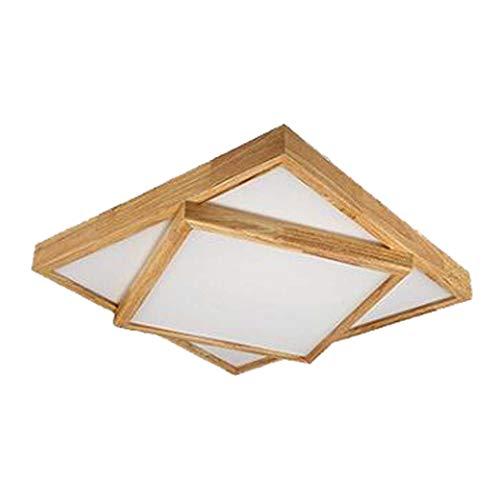 QCKDQ Led-plafondlamp, 48 W, dubbele vierkante tatami van hout, moderne draad gemonteerd voor woonkamer, slaapkamer