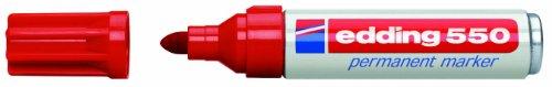 edding 550-002 - Marcador permanente con punta redonda, 3 - 4 mm, 10 unidades, color rojo