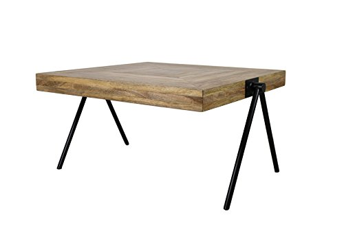 HSM Collection salontafel vierhoekig groot, hout, natuurlijk top/zwart metaal, 80 x 80 x 46 cm