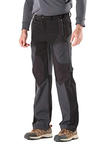 KORAMAN Men's Insulated Outdoor Windproof Hiking Pants Softshell Warm Fleece Mountain Ski Pants (US 2XL, Black)