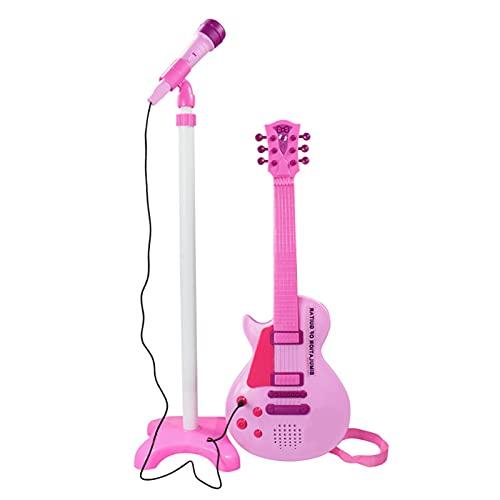 21in niños guitarra eléctrica con conjunto de micrófono, micrófono de karaoke con...