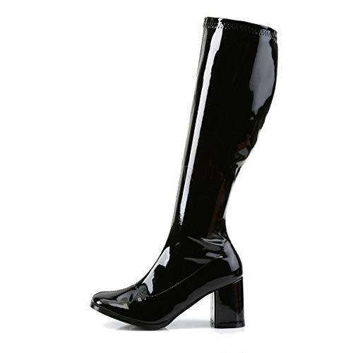 Damen Herren Fancy Dress Party Go Go Stiefel 60er 70er Disco Retro Größe 36-47, Schwarz - Schwarz - Größe: 43 EU